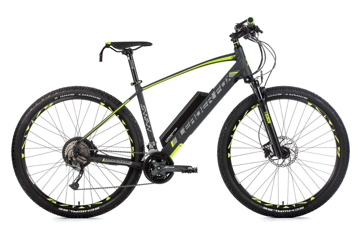 """E-Mountainbike SWAN 29"""", Rahmen 21,5"""", grau matt/grün"""