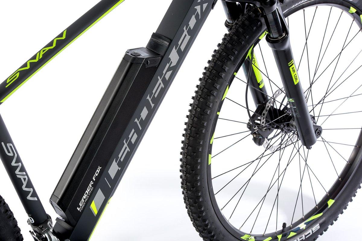 """E-Mountainbike SWAN 29"""", Rahmen 17,5"""", grau matt/grün"""